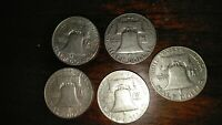 LOT OF 5    COINS   FRANKLIN HALF DOLLAR 90  SILVER THE BEST