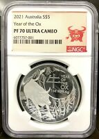 2021 AUSTRALIA $5 LUNAR YEAR OF THE OX DOMED 1 OZ SILVER PRO