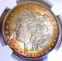 1880 MORGAN SILVER DOLLAR - NGC MINT STATE 63 STAR STUNNING COLOR