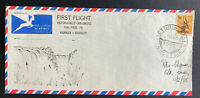 1975 VICTORIA FALLS RHODESIA FIRST FLIGHT AIRMAIL COVER FFC TO JAN SMUTS
