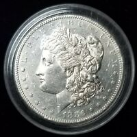 1882-S MORGAN SILVER DOLLAR AU, LIGHT CLEANING IN CAPSULE