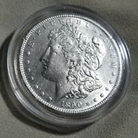 1890-S MORGAN SILVER DOLLAR CHOICE AU, LIGHT CLEANING IN CAPSULE