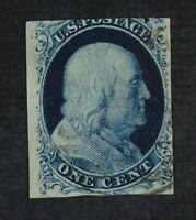 CKSTAMPS: US STAMPS COLLECTION SCOTT7 1C FRANKLIN USED THIN