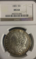 1883 MORGAN SILVER DOLLAR NGC MINT STATE 64 TONED ON EDGES