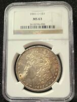 NGC 1885 O MINT STATE 63 MORGAN SILVER DOLLAR BEAUTIFULLY GOLDEN TONED OBVERSE