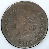 1812 UNITED STATES CLASSIC HEAD LARGE CENT / PENNY - VG  GOOD