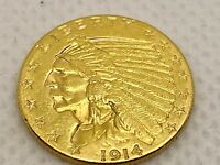 1914D $2.5 US GOLD INDIAN HEAD COIN 22KT SOLID GOLD UNGRADED