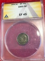 ANACS EF45 EXTRA FINE 45 1830 P LIBERTY SEATED SILVER CAPPED HALF DIME-AGT556