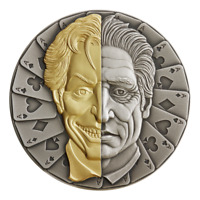 2021 NIUE $5 TWO FACE MASK ANTIQUED GOLD GILDED 2 OZ .999 SI