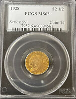 1928 $2 1/2 INDIAN GOLD COIN   PCGS MS63   QUARTER EAGLE