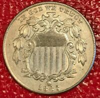 AU/UNC 1883 SHIELD NICKEL COIN-ERROR-STRONG IN GOD WE TRUST DOUBLING-MAR108