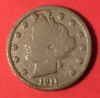 1911 LIBERTY HEAD BARBER V NICKEL  LIGHTLY CLEANED  FIVE CENT / 5 CENTS