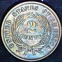 1865 ERROR TWO CENT PIECE, COLLECTOR TYPE COIN DOUBLE DIE OVERSE & REVERSE