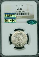 1923 STANDING LIBERTY QUARTER NGC CAC MINT STATE 67 90FH MAC FINEST SPOTLESS $10K IN FH
