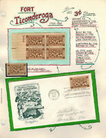 HANDPAINTED PAGE FDC 1071 FORT TICONDEROGA NY 200TH ANNIVERS
