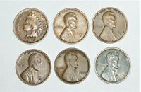 LINCOLN PENNY 6 COIN LOT 1903 INDIAN HEAD & 1938 S LINCOLN