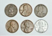 LINCOLN PENNY 6 COIN LOT 1897 INDIAN HEAD & 1924 S LINCOLN
