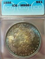 MINT STATE 66 1888-P MORGAN DOLLAR- MONSTER TONE AND TOP 100 FISH HOOK-DIE CLASH VAM 11A