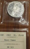 1963 CANADIAN SILVER DOLLAR.. ICCS CERTIFIED PL 65 HEAVY CAM