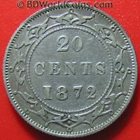 1872 H NEWFOUNDLAND 20 CENTS SILVER HIGH VALUE KEY DATE  LOW MINT WORLD COIN