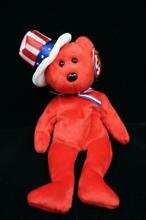 uncle sam ty beanie baby usa bear red white