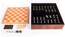 backgammon chess checkers wood leather travel