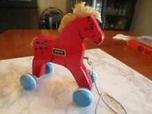 brio pull toy rolling red horse blue