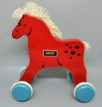 brio wooden red horse pull toy 70 s