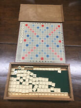 scrabble superb 1960s luxury wooden boxed