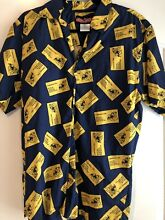 monopoly mens m shirt button up all over
