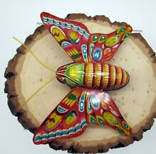 alps tin friction butterfly toy litho