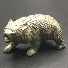 utexiqual solid pewter bear figurine stamped