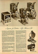toy movie projector 1949 paper ad toy tv television set