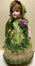 two ps green silk lace doll dress