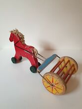 brio wooden red horse pull toy 1940 s