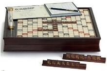 scrabble deluxe wooden edition rotating game