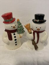 russ berrie new holiday snowmen crackle finish