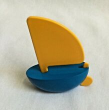 playsam sweden small wooden sailboat blue