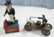 uncle sam cast iron coin bank terrier dog