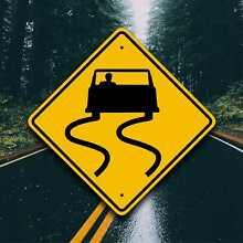 road sign slippery when wet aluminum safety