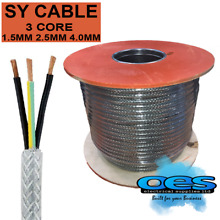 sy braided control cable 3 core 1 5mm