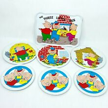 ohio art co tin metal toy tray plate saucers