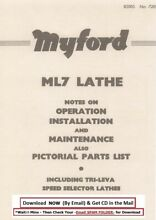 myford ml7 lathe installation operation