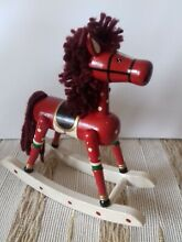 rocking horse miniature red wooden hand painted