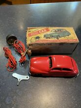 chad valley harborne heavy red litho car tin
