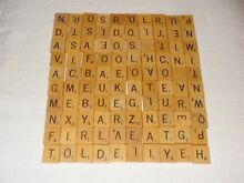 scrabble 100 wood tiles letters wooden game