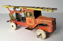 german tin litho penny toy fire ladder