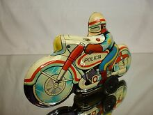 motorcycle tin toy blech friction police
