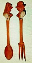 anri style carved wood woman man heads