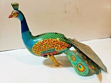alps wind up peacock 1950s tin litho